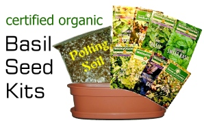 Basil Seed Kits! Includes Basil Seeds chosen from Sweet Basil, Red Rubin Basil, Lemon Basil, Thai Basil, Cinnamon Basil, Licorice Basil, Lime basil and Holy Basil, Soil and Pot.